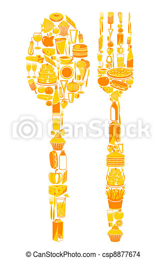 Spoon and Fork with food icon - csp8877674