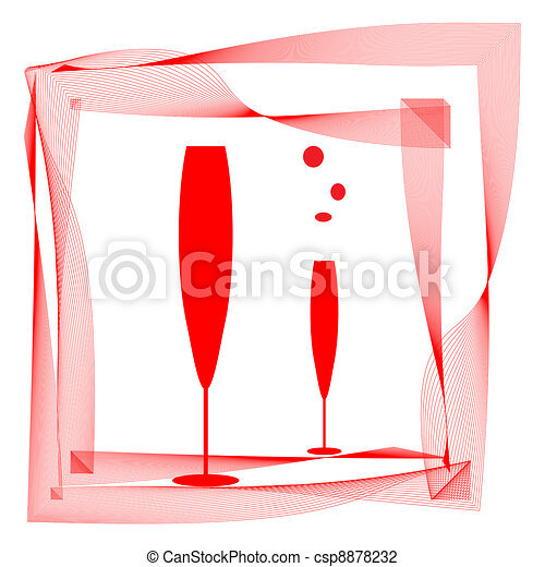 Abstraction wineglass and red lines - csp8878232