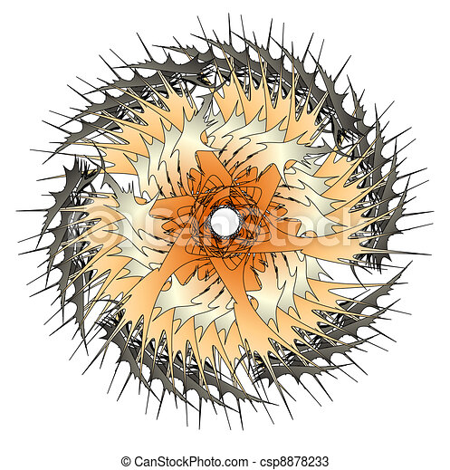 Abstract gold space wheel with sharp spears - csp8878233