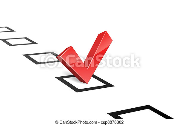 3D red vote tick concept vector illustration. - csp8878302