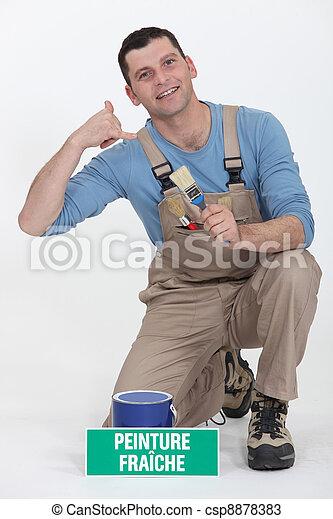painter holding brush miming telephone - csp8878383