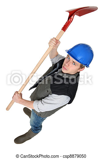 Worker raising spade in the air - csp8879050