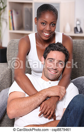 Portrait of an interracial couple - csp8879461