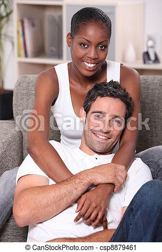 Portrait of an interracial couple - csp8879461