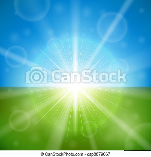 Bright summer sun vector background. - csp8879667
