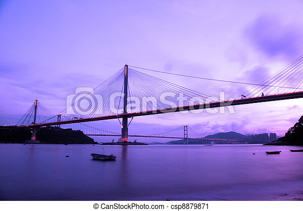 Ting Kau Bridge at night in Hong Kong - csp8879871