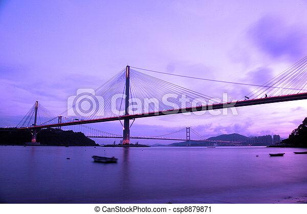Ting Kau Bridge at night in Hong Kong - csp8879871