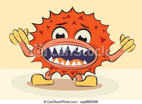cartoon funny angry bacillus - csp8880598