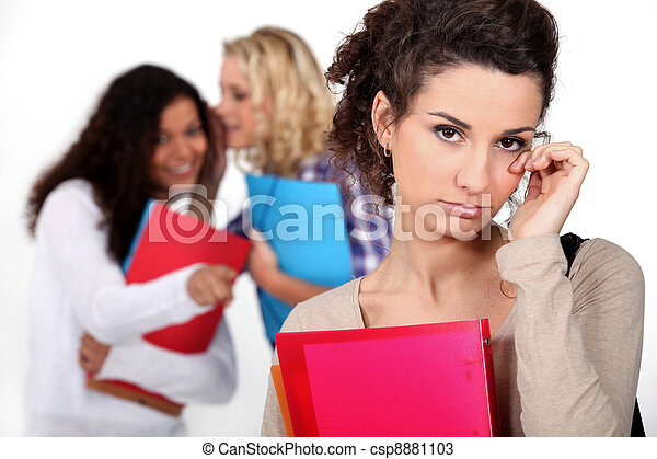 Young women whispering behind another woman's back - csp8881103