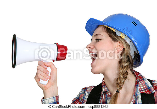 Female preaching with megaphone - csp8881262