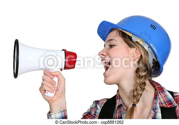 Female preaching with megaphone - csp8881262