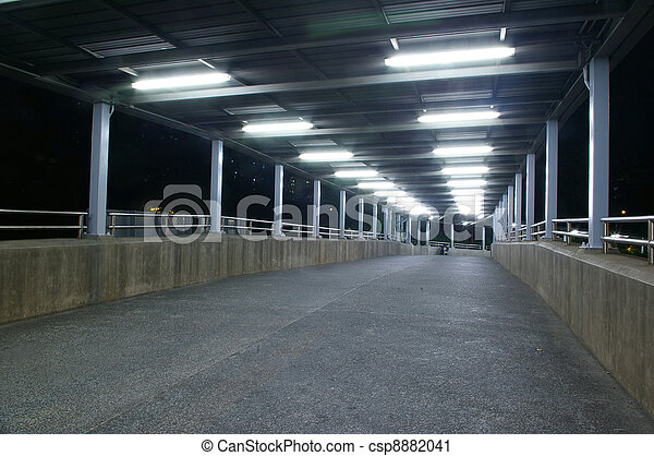 Footbridge at night with nobody - csp8882041