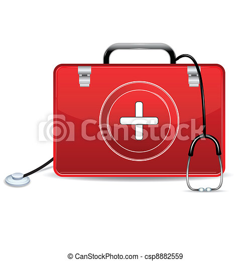 Stethoscope with First Aid Box - csp8882559