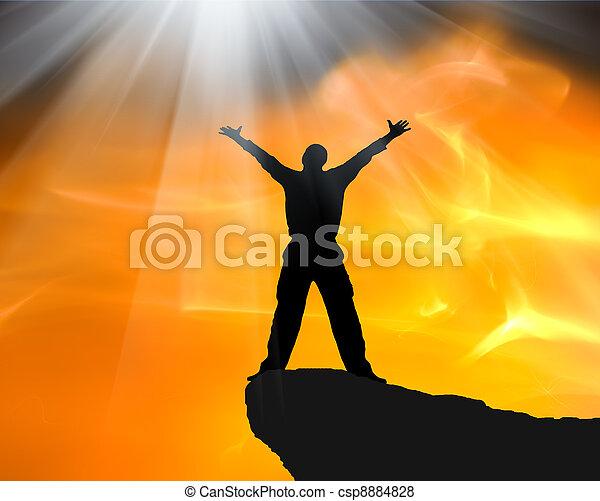 Man on top of mountain.  - csp8884828