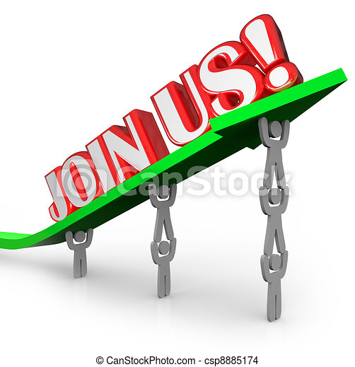 Join Us Team Lifting Arrow Work Together Achieve Goal - csp8885174