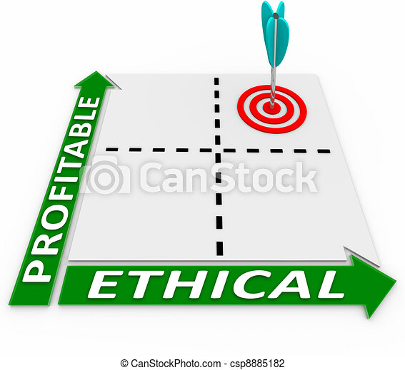 Ethical Vs Profitable Matrix Ethics and Profits Converge - csp8885182
