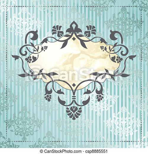 Elegant rococo label in blue - csp8885551