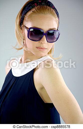Blonde Fashion girl 60s eyewear - csp8885578