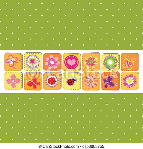 Abstract springtime flower greeting card - csp8885755