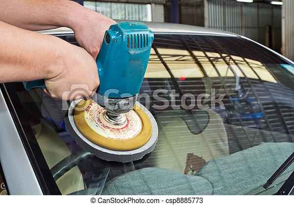 stock fotos von auto glas polieren mit macht puffer maschine auto csp8885773 suchen. Black Bedroom Furniture Sets. Home Design Ideas