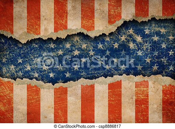 Grunge ripped paper USA flag pattern - csp8886817