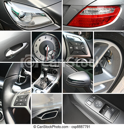 Luxury car details collage - csp8887791