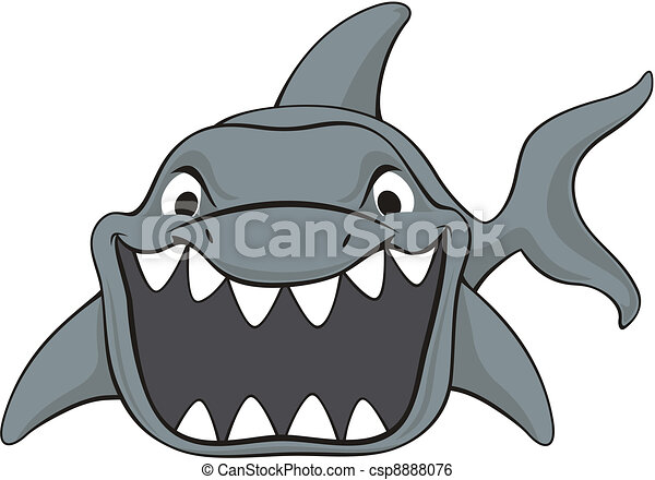 shark attack cartoon - csp8888076