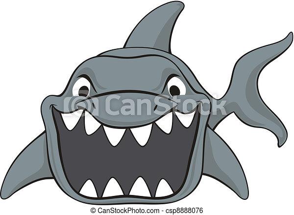 shark attack cartoon - csp8888076