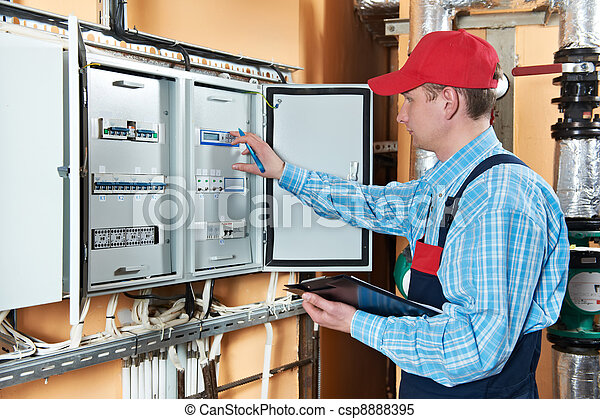 Electrician checking data - csp8888395