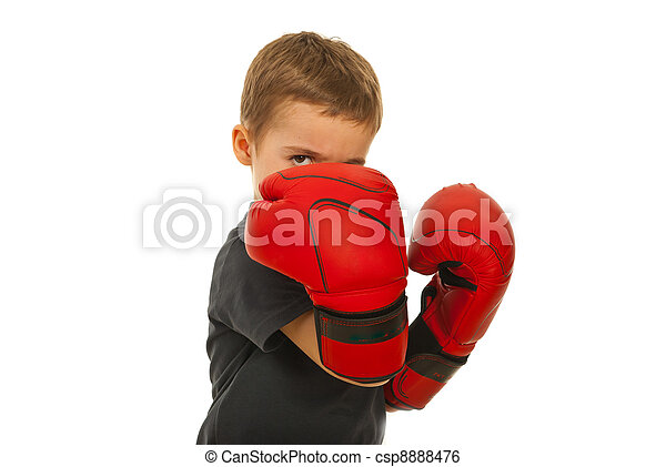 Defending little boy with boxing gloves - csp8888476