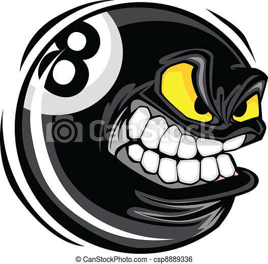 Billiards Eight Ball  Angry Face - csp8889336