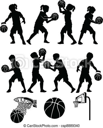 Basketball Silhouette Kid Boy Girl - csp8889340