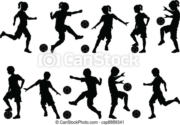 Soccer Silhouettes Kids Boys Girls - csp8889341