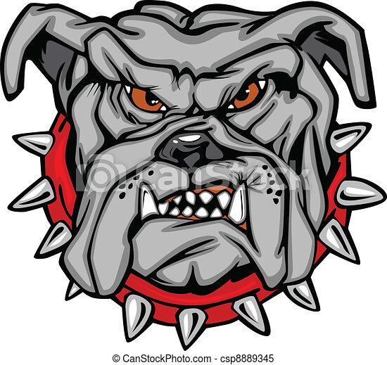 Bulldog Cartoon Face Vector - csp8889345