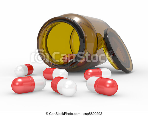 Medicine capsules spilled from the pill bottle - csp8890293