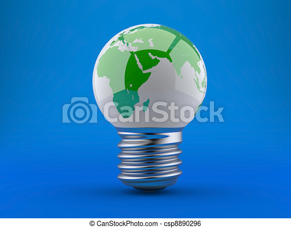 Energy concept. Light bulb with planet earth - csp8890296