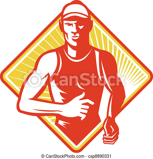 Male Marathon Runner Running Retro Woodcut - csp8890331