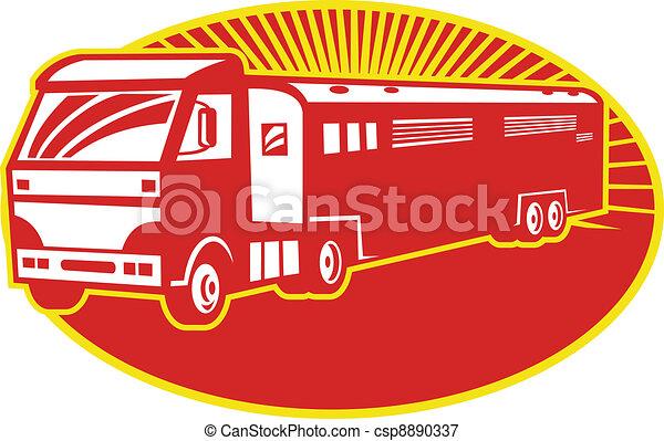 Horse Transport Truck Trailer Retro - csp8890337
