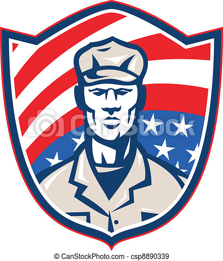 American Soldier With Stars and Stripes Shield Retro - csp8890339