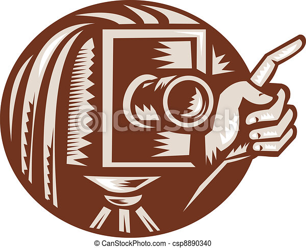 Vintage Camera Hand Pointing Retro Woodcut - csp8890340