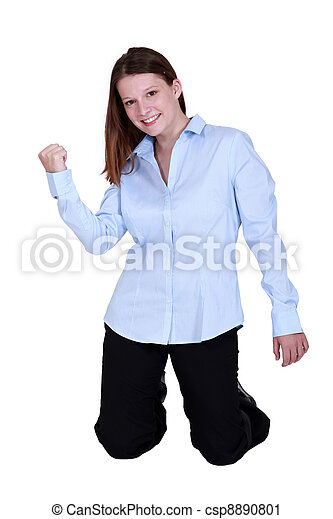 Stock Photography of Excited office worker on her knees ...