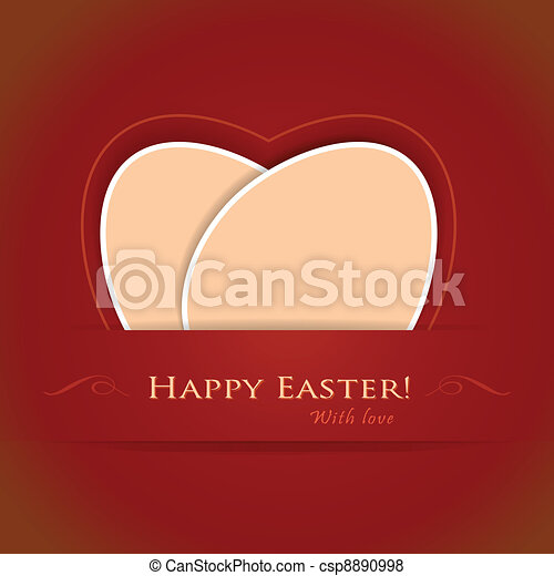 Red beige Happy Easter background - csp8890998
