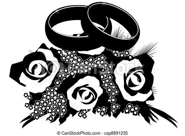 Vecteur Clipart de Bouquet, Anneaux, mariage - deux, mariage, Anneaux ...