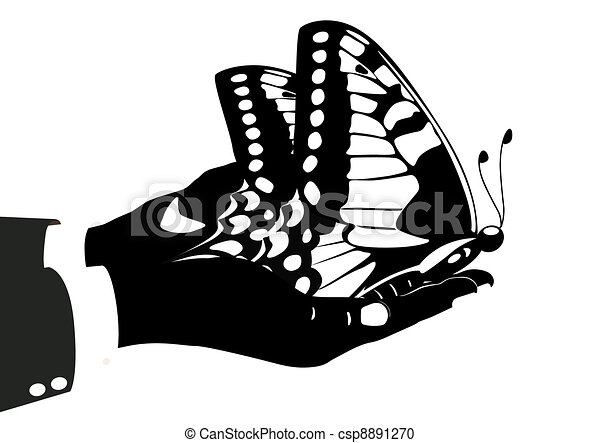 Butterfly in his hands - csp8891270