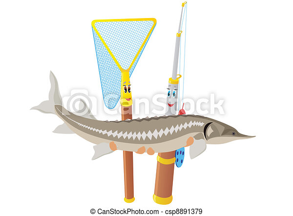 Fishing rod, net and sturgeon - csp8891379