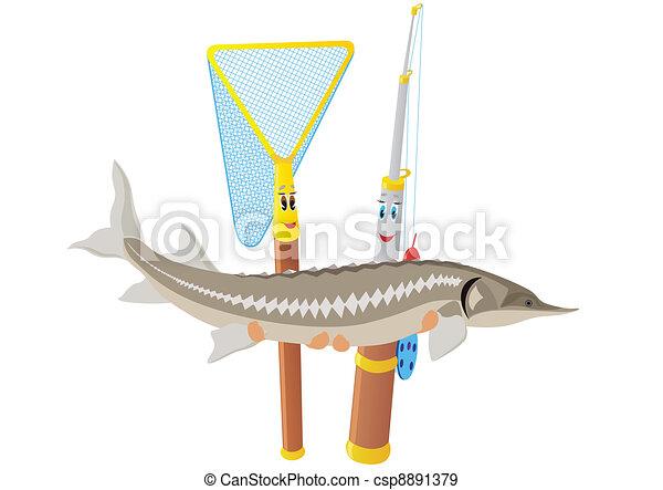 Fishing rod, net and sturgeon - csp8891379