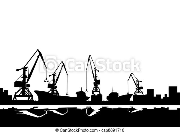 Port cranes and ships - csp8891710