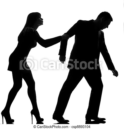 one caucasian couple dispute separation man leaving and woman holding back in studio silhouette isolated on white background - csp8893104