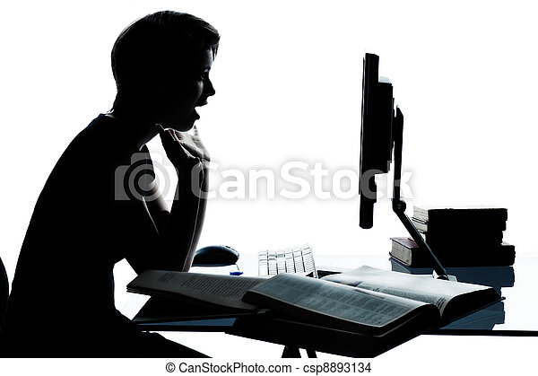 one caucasian young teenager silhouette boy or girl studying with computer computing laptop in studio cut out isolated on white background - csp8893134