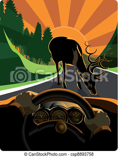 the driver dodging road hazards - csp8893758
